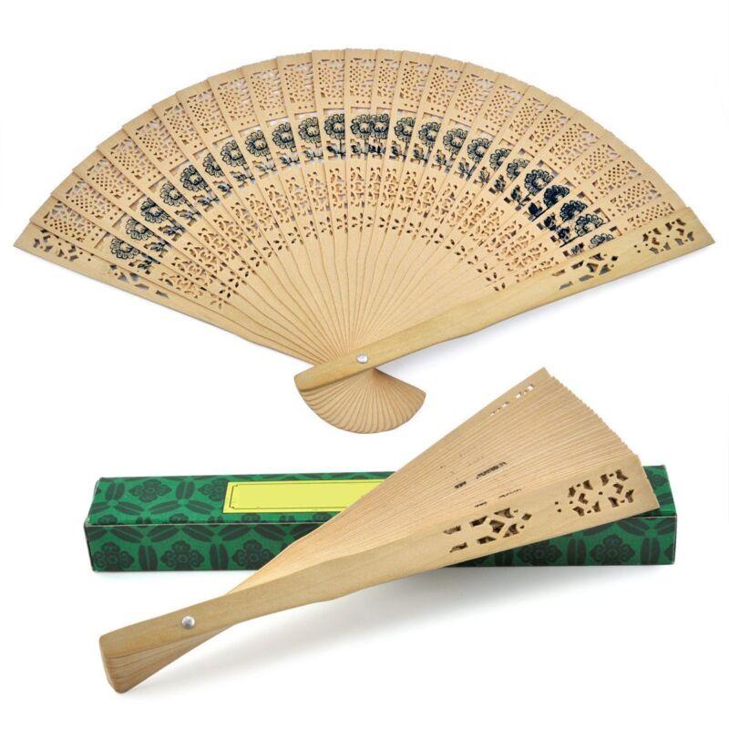 Wooden Carved Geisha Folding Fan Dancing Fan S-3454