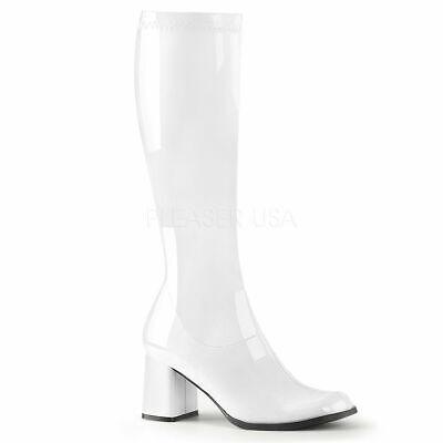 White Gogo Boots Size 7 (White Go Go Disco 60s 70s Hippie Cheerleader Costume Boots Womans size 7 8 9)