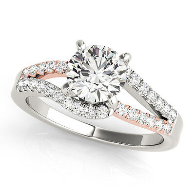 0.75 Carat Halo Two-Tone Diamond Engagement Ring In 14k  Rose and White