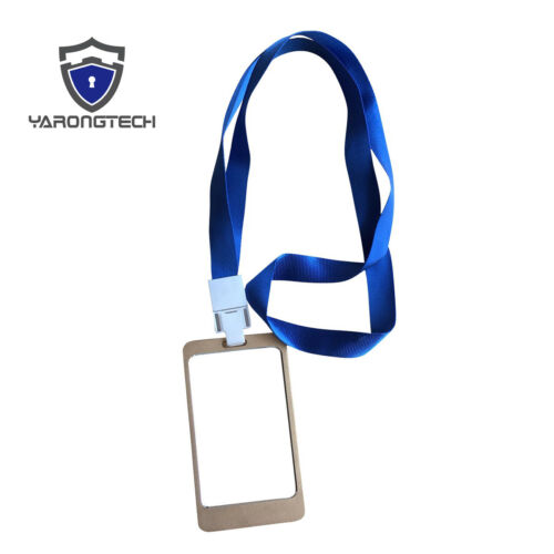 ID Card Holder Aluminium Alloy RFID Employee Worker Badge With Lanyard