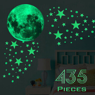 435Pcs Glow In The Dark Luminous Stars & Moon Planet Space Wall Stickers