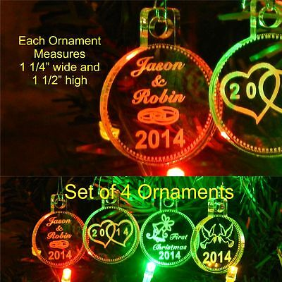 First Christmas Acrylic (First Christmas Wedding Ornaments Miniature Personalized w Name Acrylic Set of 4 )