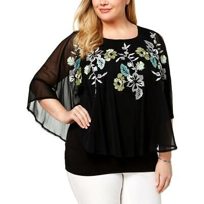 Alfani Womens Black Embroidered Floral Pullover Top Shirt Plus 0X BHFO 5006