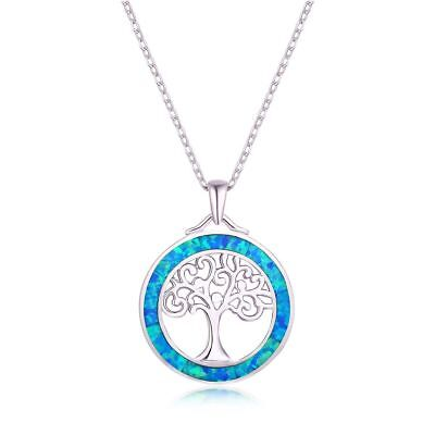 18K White Gold Plated & Blue Opal Tree Of Life Pendant Necklace