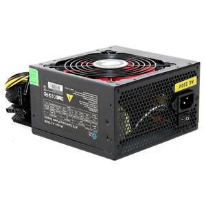 ACE Black 750W PC Power Supply Unit Quiet 120mm Red Fan PSU ATX 6-Pin PCI-E SATA
