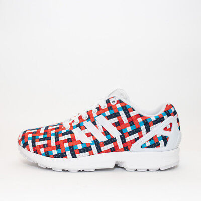 Womens Adidas ZX Flux White/Multi-Coloured Trainers (TGF40) RRP £59.99