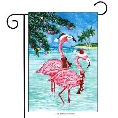 Holiday Garden Flag (Christmas Flamingos Nautical Garden Flag Tropical Holiday Beach 12.5