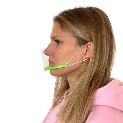 3er Set Visier Mund-Nasenbedeckung Kinn Gesichtsmaske Plexiglas Plastik Grün