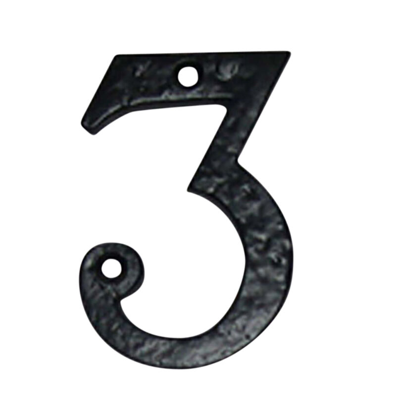 """Number """"3"""" House Number Black Wrought Iron 4""""H   Renovator"""