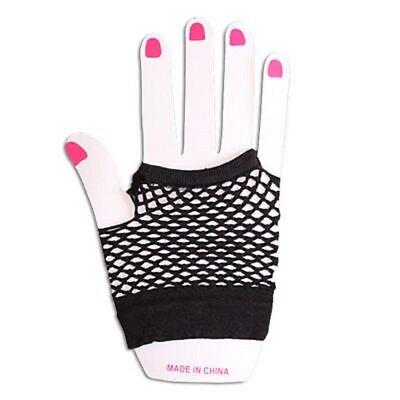 Neon Farben Shorts Fischnetz Kostüm Fingerlose Handschuhe Schwarz - Neonfarbene Kostüme