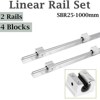 2pcs Shaft Rod Sbr25-1000 Linear Rail Slide Guide Fully Supported 4 Sbr25uu