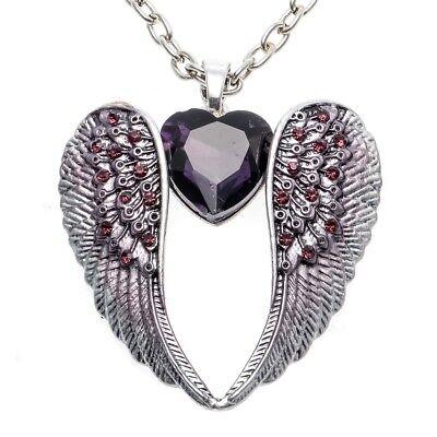Angel wing heart choker necklace bling jewelry gift for women NC06 silver purple