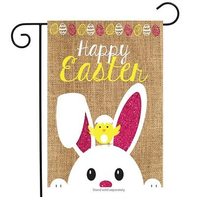 "Easter Burlap Garden Flag Bunny Chick 12.5"" x 18"" Briarwood Lane"