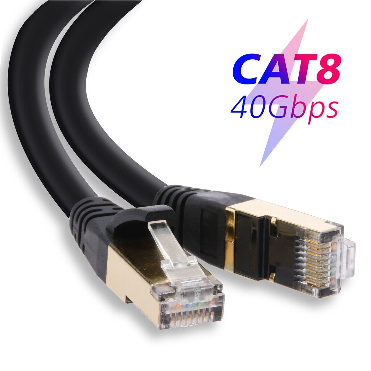 6-100Ft Cat8 Cat7 Cable Ethernet Outdoor Hi Speed Gold Plate