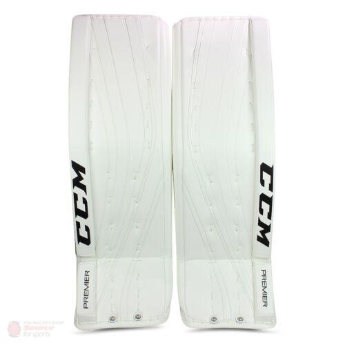 """New CCM Premier Pro Senior Ice Hockey Goalie leg pads 35""""+2 All White sr Goal wt"""