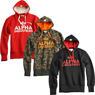 Alpha Industries Foam Print Hoody Herren Pullover Training Kapuze Sweatshirt rot ()