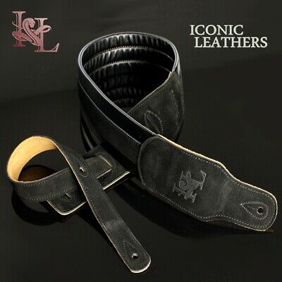 Guitar Strap Light (Iconic Leathers Padded SOFT LIGHT Sueded Leather Black Guitar Bass Strap)