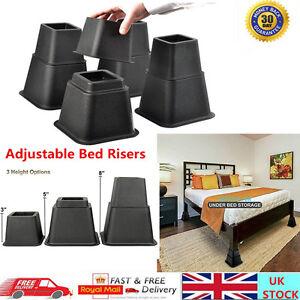 8pcs Bed Risers Set Chair Furniture Rubber Lift Blocks Elephant Feet Load 500KG
