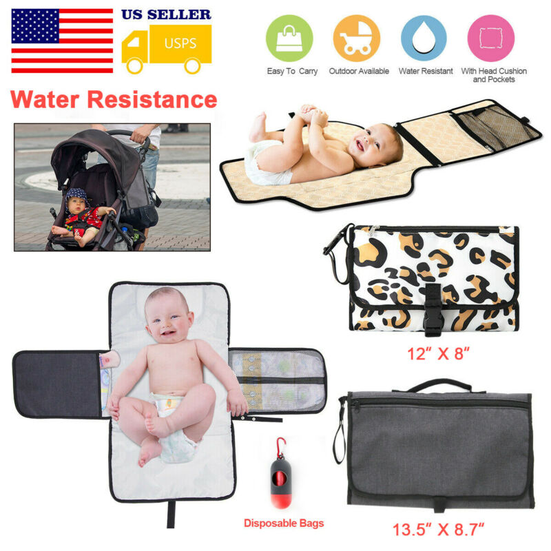 Diaper Changing Pad Baby Folding Portable Mat Travel Wipeable Waterproof Bag
