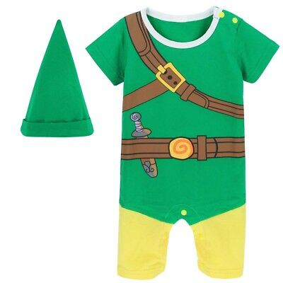 Baby Boy Romper Newborn Zelda Costume Cosplay Playsuit Infant Jumpsuit with Hat (Infant Boy Costume)
