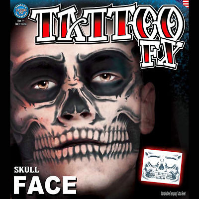 Tinsley Temporary Tattoo Transfer FX Skull Face Halloween Costume Makeup Cosplay](Halloween Makeup Skulls)