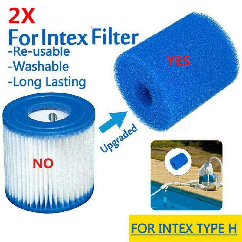 2X Washable Swimming Pool Filter Foam Sponge Cartridge For Intex Type H Bule