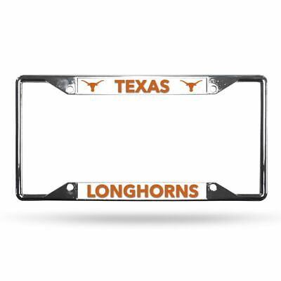 Texas Longhorns NCAA Lightweight Chrome Metal License Plate Frame Texas Longhorns Metal License Plate