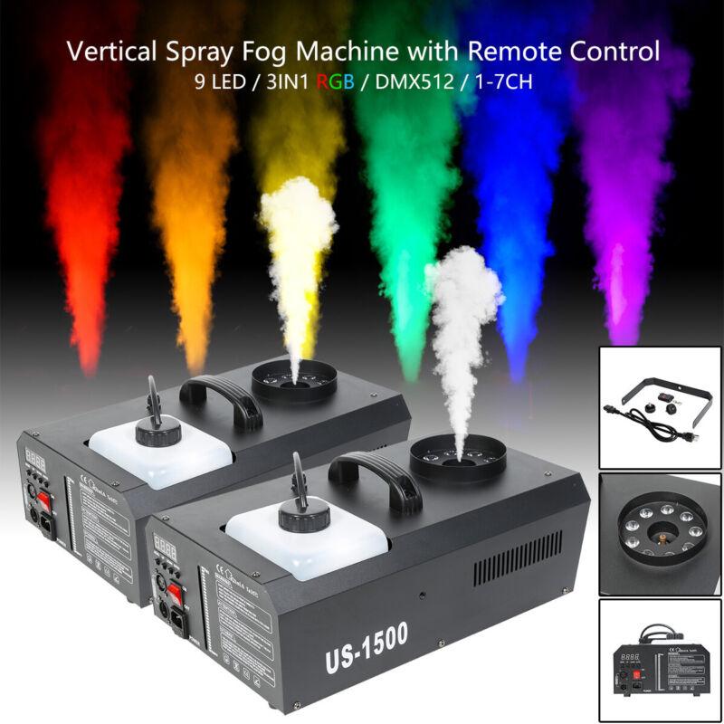 2x 3in1 RGB Stage Fog Machine DMX 9 LEDs Smoke Thrower w/ Remote Fogger Party DJ
