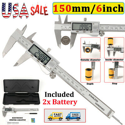 6 150mm Full Stainless Steel Digital Electronic Vernier Caliper Gauge Meter Lcd
