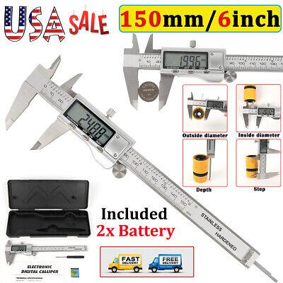 150mm6in Lcd Digital Electronic Stainless Steel Vernier Caliper Gauge Meter Us