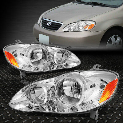 FOR 2003 2008 TOYOTA COROLLA PAIR CHROME HOUSING AMBER SIDE HEADLIGHTLAMP SET