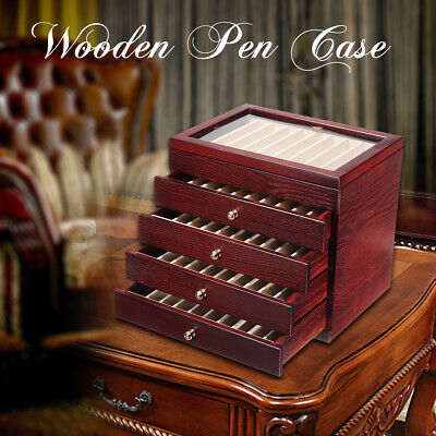 5 Layers Luxury Wooden Box Fountain Pen Display Storage Case Wood 50 Pens Us