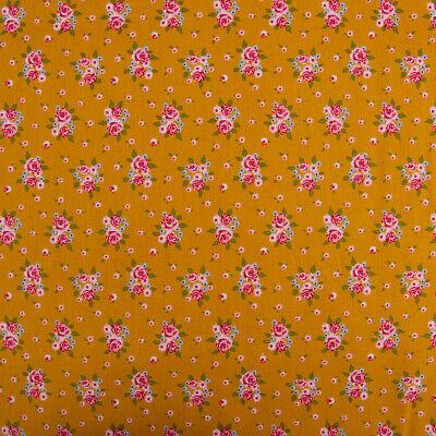 Baumwollstoff DELIGHTFUL ROSES Rosenstrauß Rosen ocker gelb rosa grün 1,5m - Strauß Kostüm Kinder