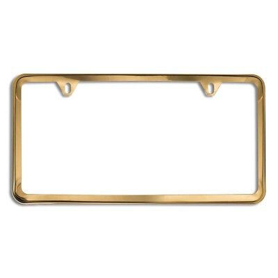 2-Hole License Plate Frame with Gold Stainless Steel Slimline -