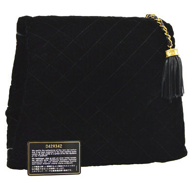 Auth CHANEL Quilted Fringe CC Arm Sleeve Clutch Bag Black Velvet Leather A38803