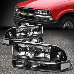 FOR 1998-2004 CHEVY BLAZER/S10 PAIR BLACK HOUSING CLEAR CORNER HEADLIGHT/LAMPS