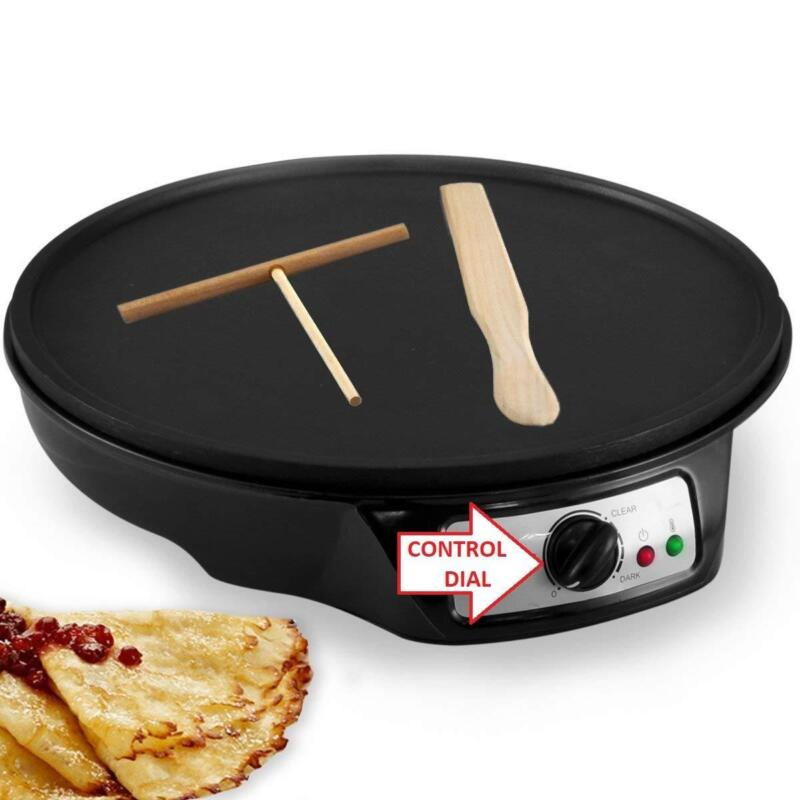 Electronic Crepe Maker Machine with 2 Utensil Wooden Spatula