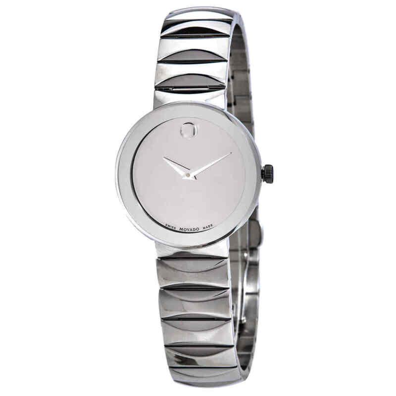 Movado Sapphire Silver Mirror Dial Ladies Watch 0607213