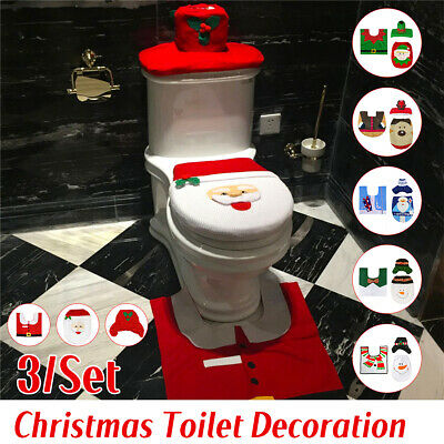 3 PCS Set Christmas Xmas Decoration Santa Toilet Seat & Cover & Rug Bathroom Mat ()