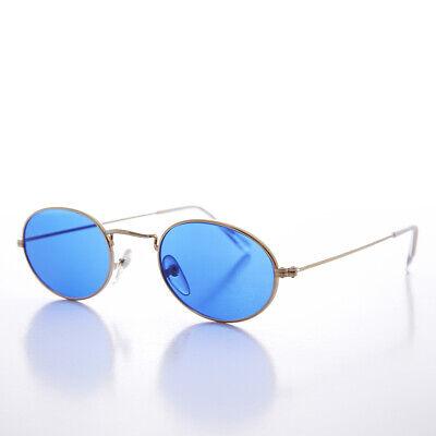 Blaue Farbe Getönt Ovale Gläser 90s Vintage Sonnenbrille Goldrahmen - Sherbert
