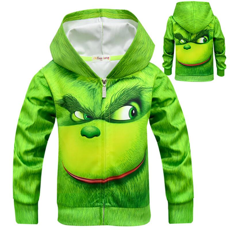 Grinch Kinder Jungen Weihnachten 3D Hoodie Sweatjacke Sweatshirt Kapuzenpullover