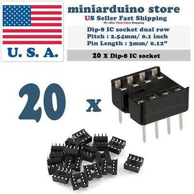 20pcs Dip-8 Ic Socket Solder Type Double Row 8pin Dip Integrated Circuit