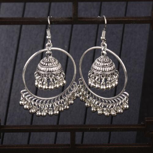 Vintage Women's Vintage Indian Oxidized Silver Jhumki Earrin