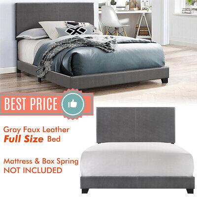 Full Platform Bed Frame - FULL Size Bed Frame Platform With Headboard Erin Gray Faux leather Upholstered