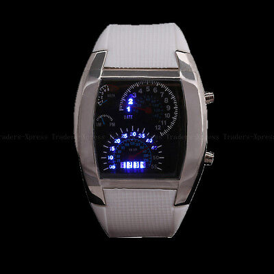 White Mens Womens Boys Binary Blue LED Light Dot Matrix Sports Wrist Watch