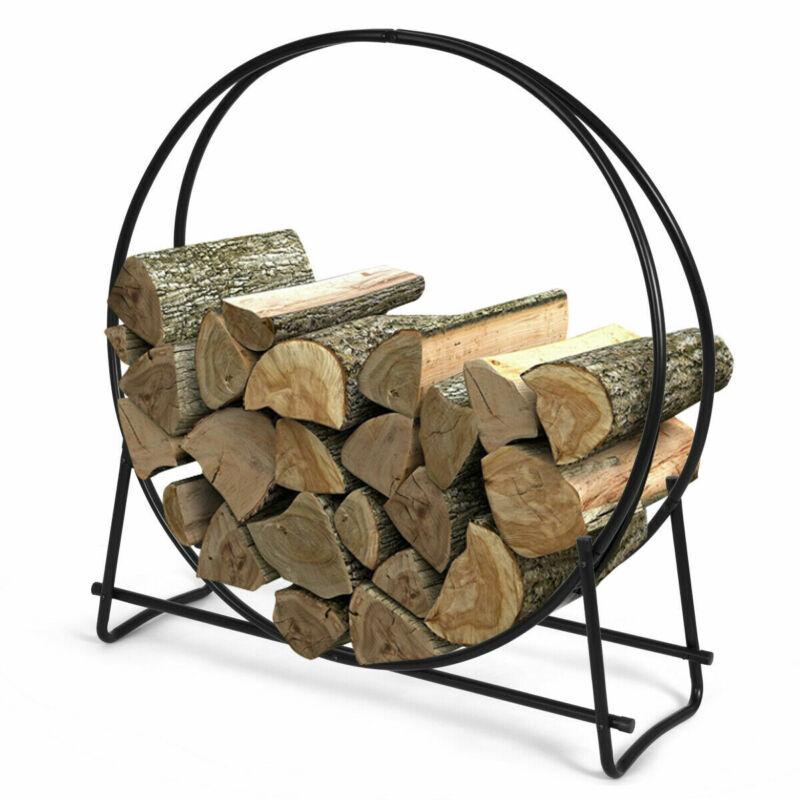 "40"" Tubular Steel Log Hoop Firewood Storage Rack Holder Round Display for Home"