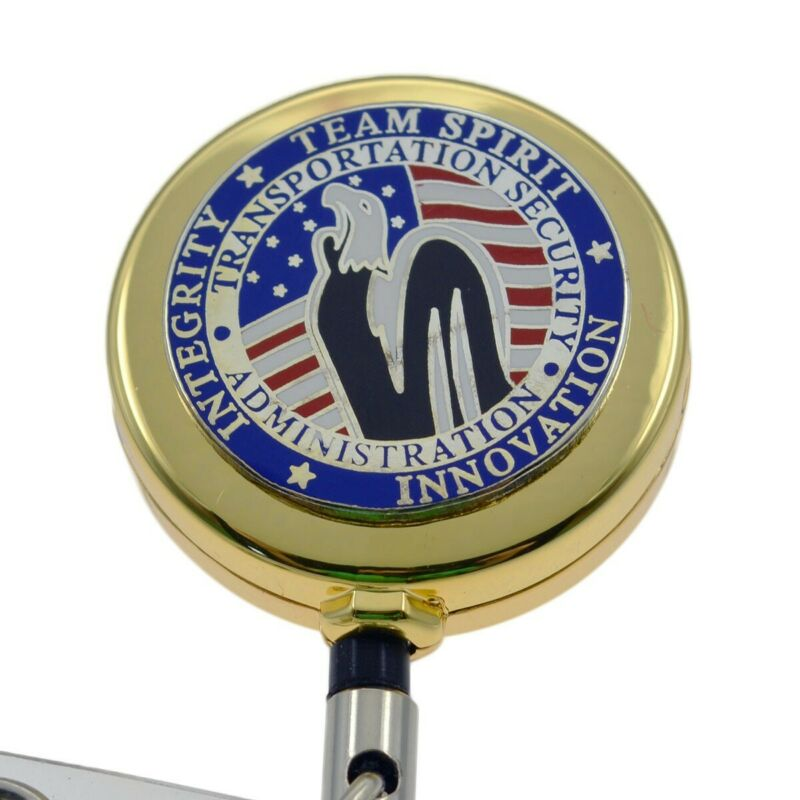 TSA Patch Retractable Badge Reel ID Card Security Pass Holder Team Spirit Gold