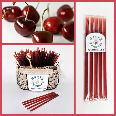 Honeystix Straws - 5 Pack CHERRY HONEY TEASERS Natural Honey Snack Sticks Honeystix Straws