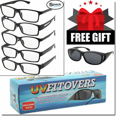 MENS WOMENS READING GLASSES READERS WITH FREE FIT OVER SUNGLASS 5 PACK + (Sunglasses With Reading Glasses)