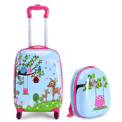 Carry On Luggage With Wheels Kids Rolling Suitcase Backpack